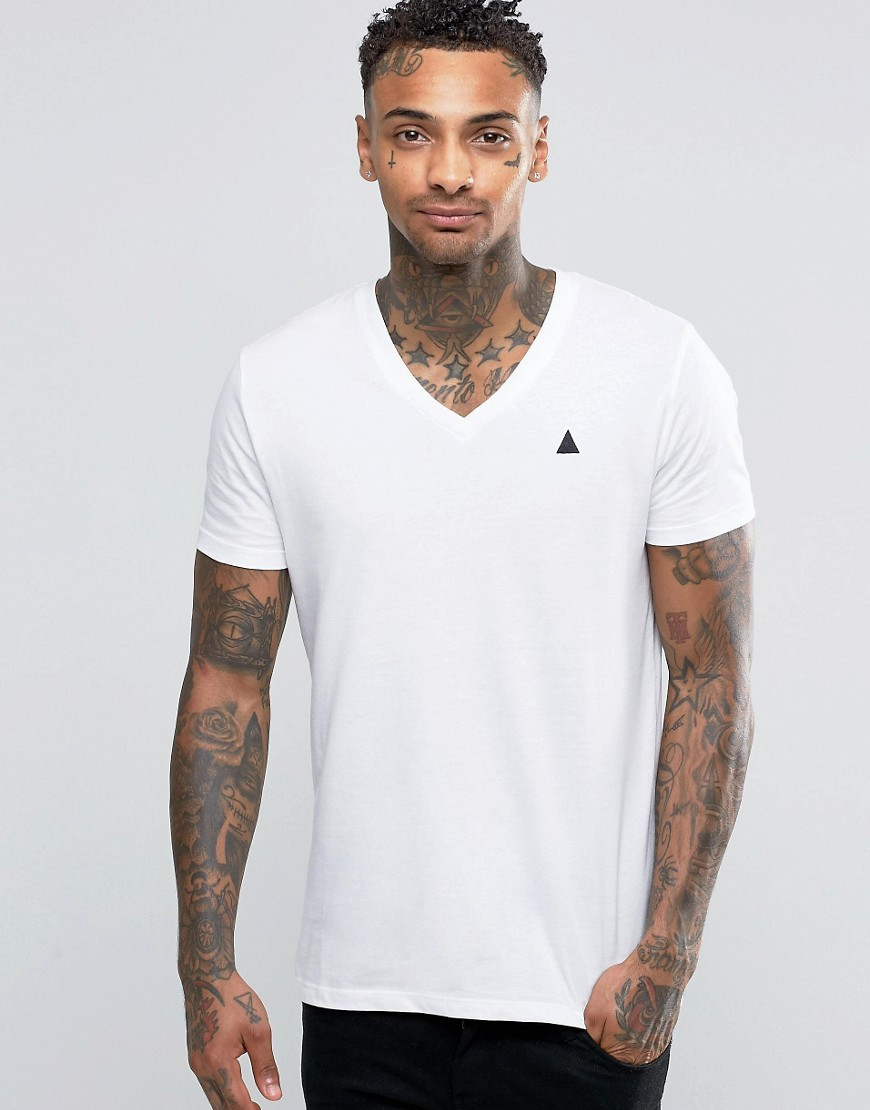 Asos logo t shirt with v neck in white in white for men lyst for V neck white t shirts for men