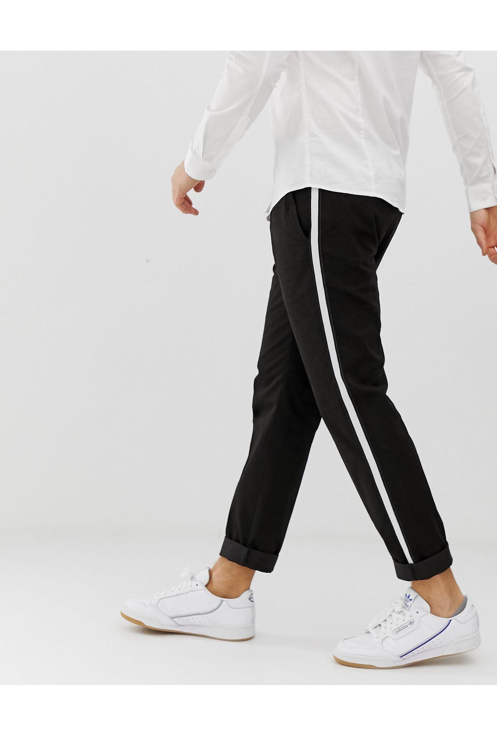 Burton Denim Nette Slim-fit Broek Met Zijstreep in het Zwart voor heren