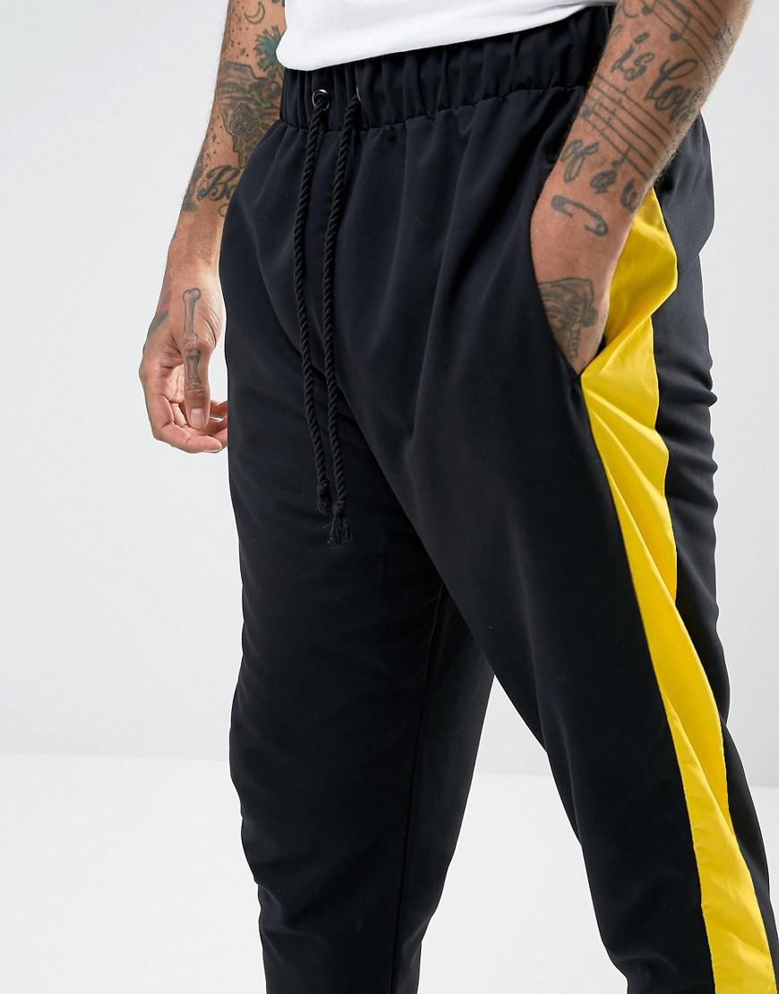 Lyst Granted Joggers In Black Nylon With Yellow Stripe