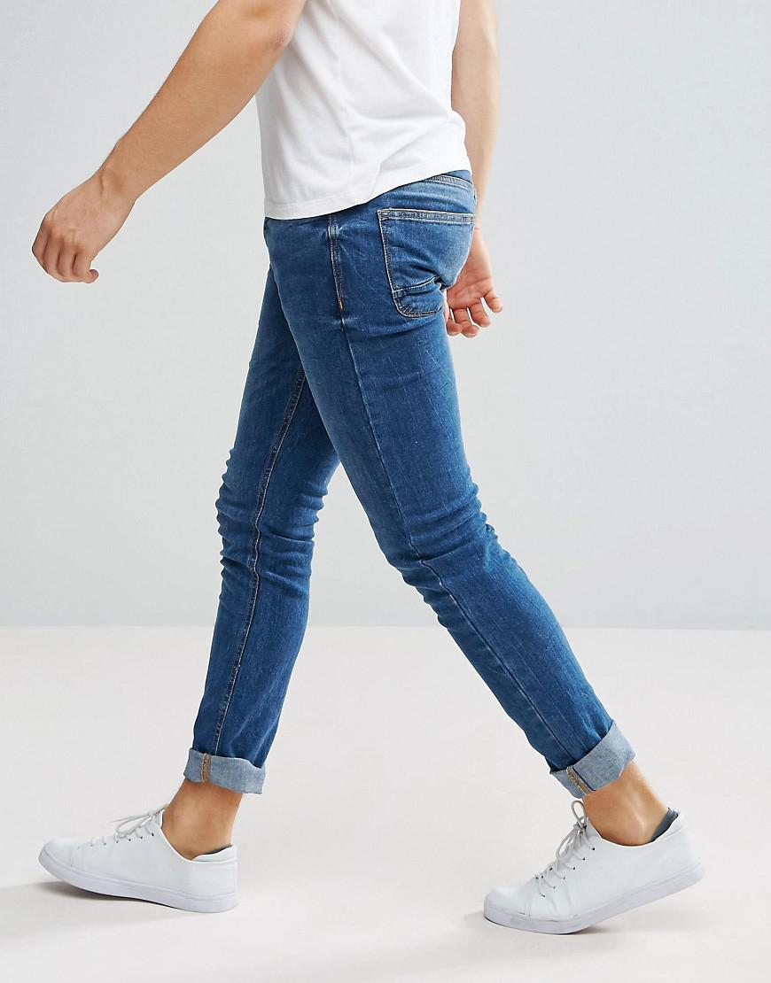 Stradivarius Denim Skinny Jeans In Mid Wash in Blue for Men
