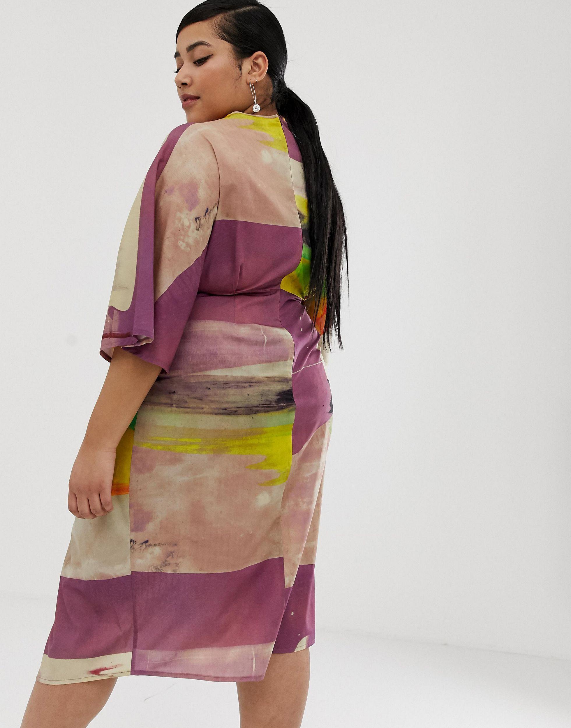 ASOS DESIGN Curve - Robe mi-longue kimono nouée devant à imprimé abstrait Jean ASOS