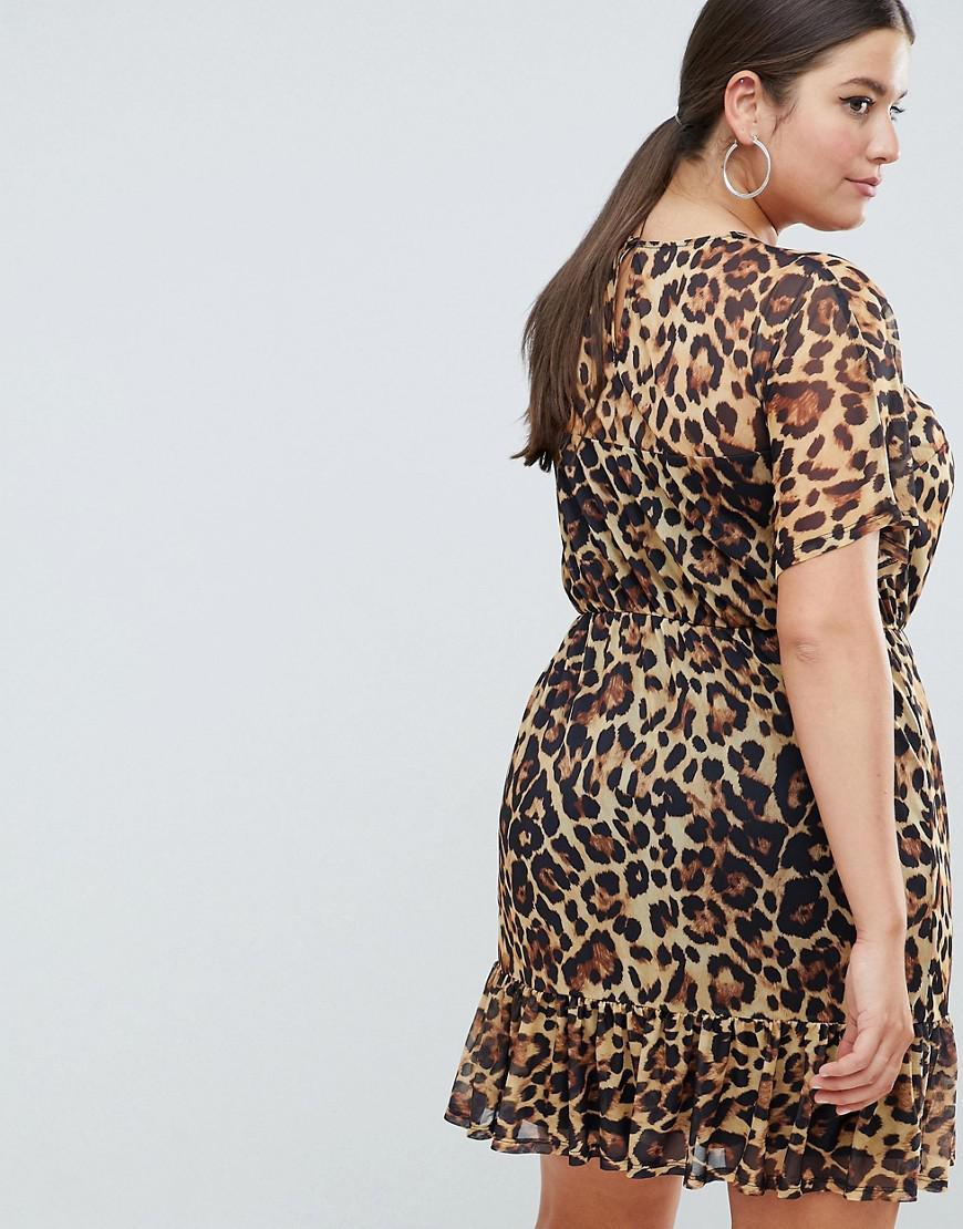d3a6e0990c15 Lyst - ASOS Asos Design Curve Mini Mesh Tea Dress In Leopard Print
