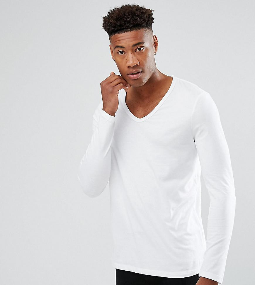 Asos Tall Long Sleeve T Shirt With Deep V Neck In White