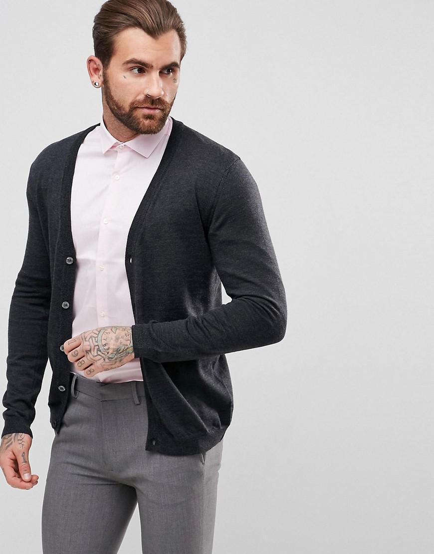 Asos Merino Wool Cardigan In Charcoal in Gray for Men   Lyst