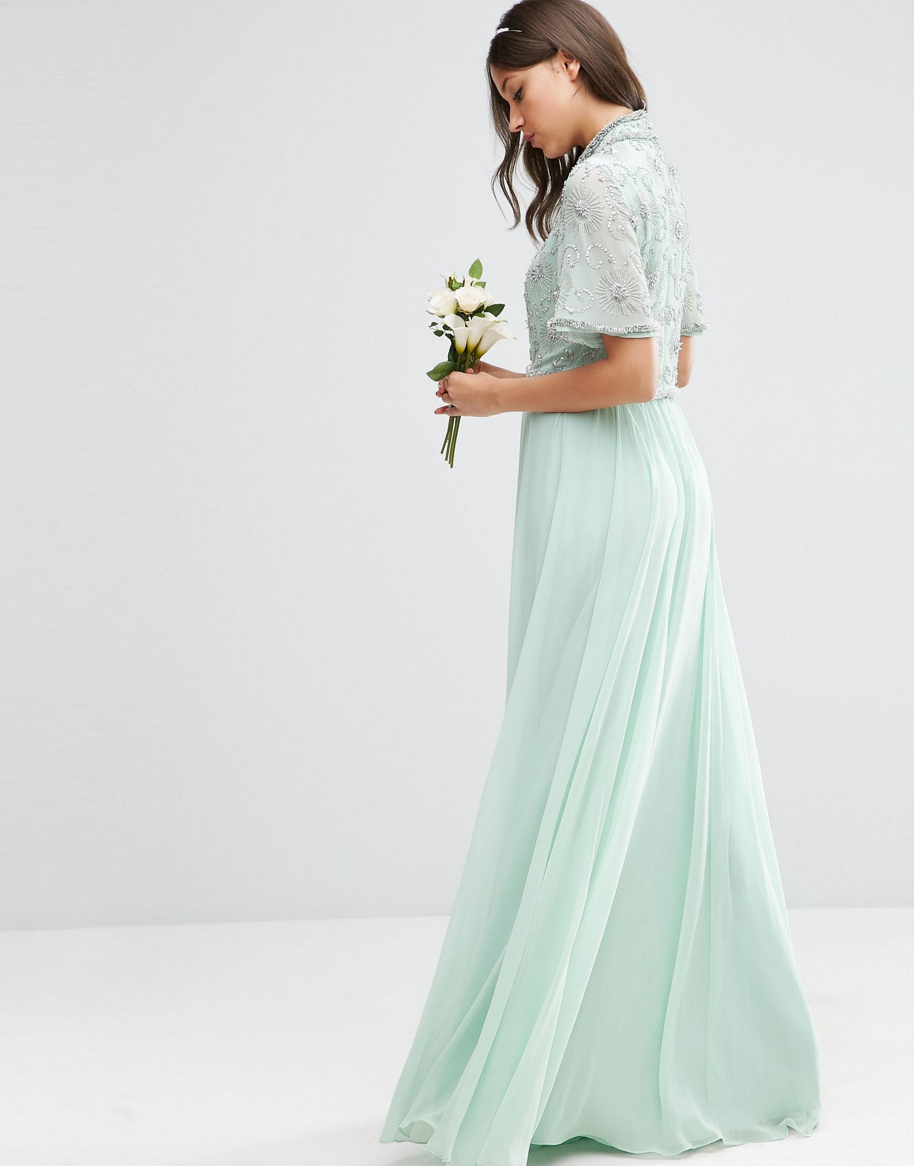 Asos tall wedding embellished crop top maxi dress in green for Tall dresses for weddings