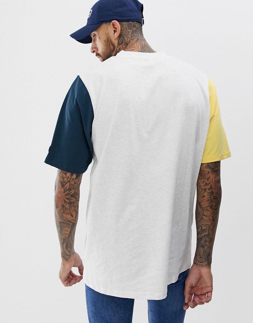 Ellesse Katoen Mirro - Oversized Contrasterende T-shirt Met Kleurbloklogo in het Grijs voor heren