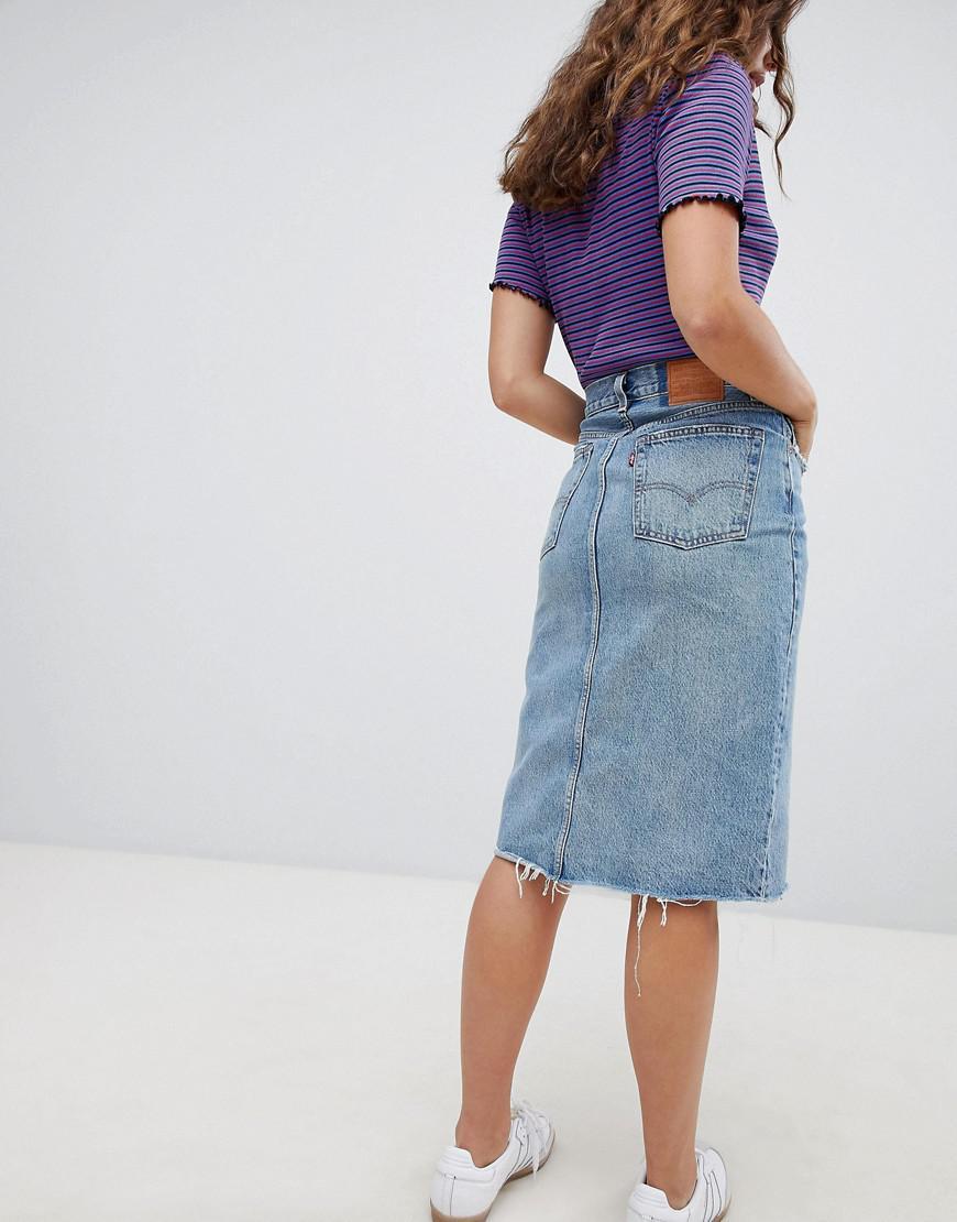 f0949806d5cb9b Jupe en jean avec couture fendue femme de coloris bleu