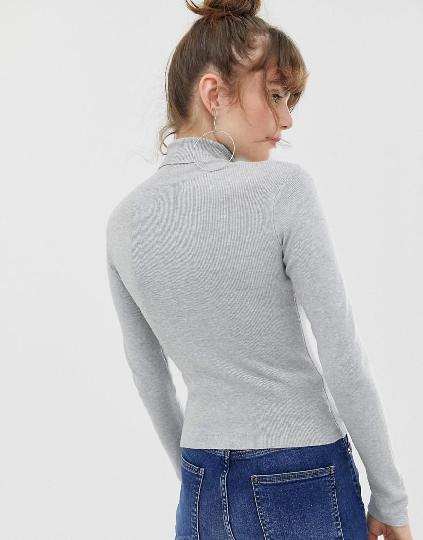 f3c8a7e76a7d1b ASOS Eco Fine Knit Roll Neck Sweater in Gray - Lyst