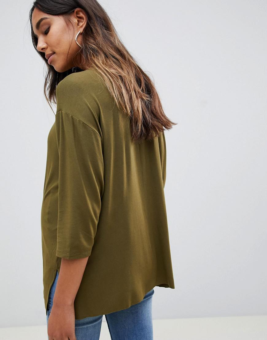 7c00e17b06457 Lyst - ASOS Asos Design Maternity Top With 3 4 Sleeves In Drapey Fabric In  Khaki in Green