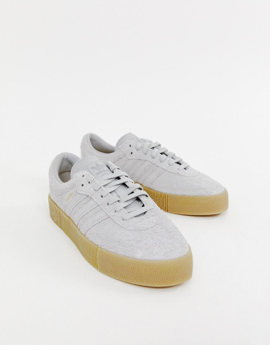 Lyst - adidas Originals Samba Rose Sneakers In Gray With Gum Sole in ... 01b6ea6b9