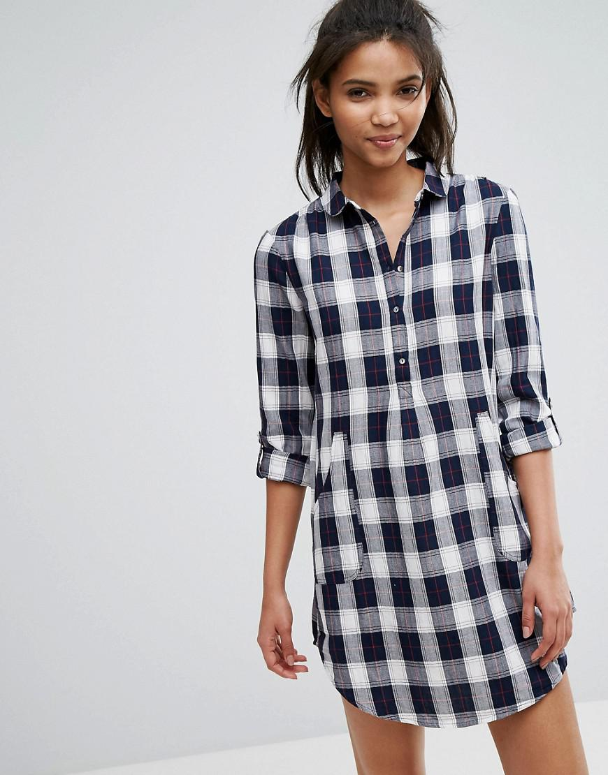 Esprit check print shirt dress in blue lyst for Blue check dress shirt