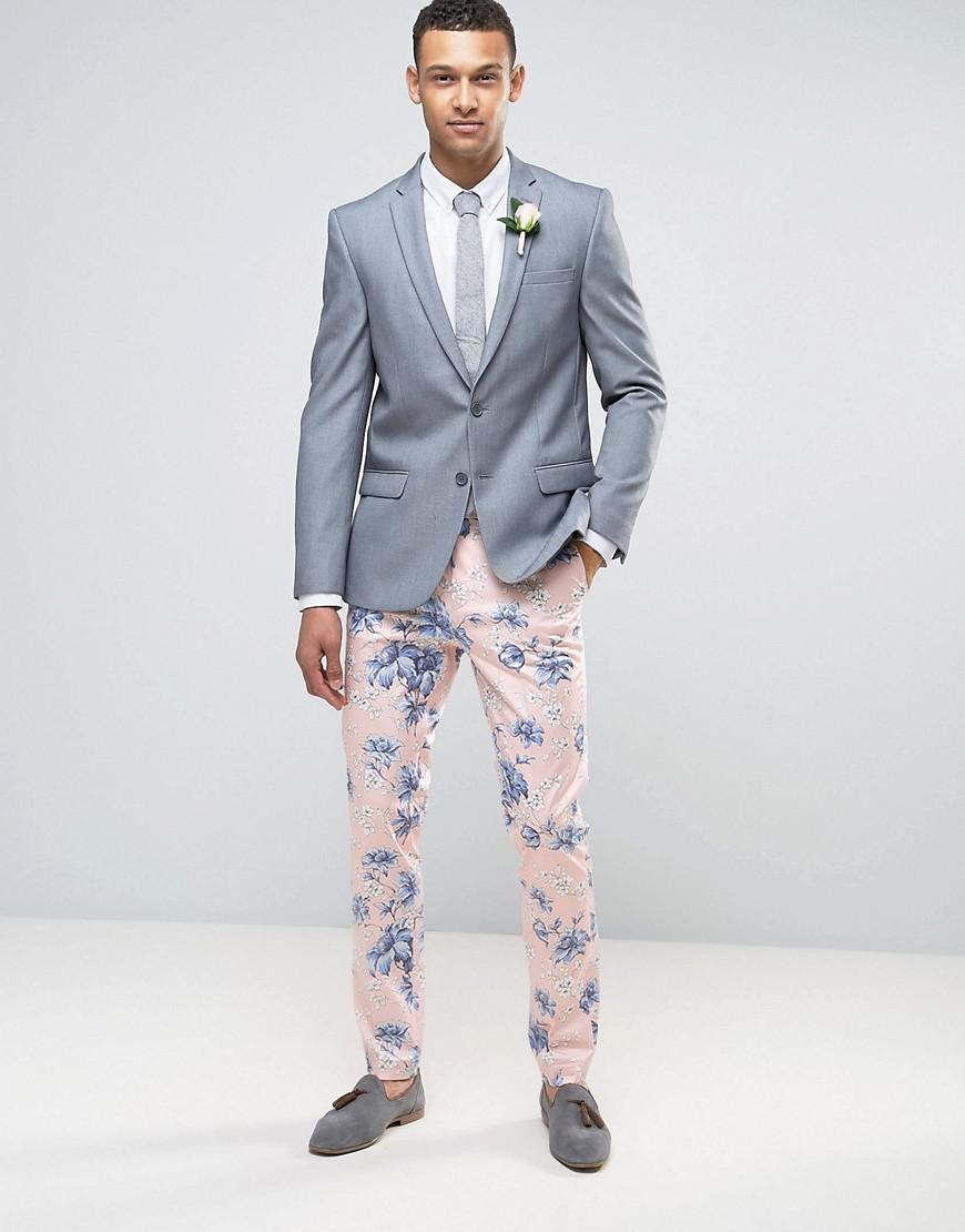 Lyst Asos Wedding Skinny Smart Pants In In Blush Floral