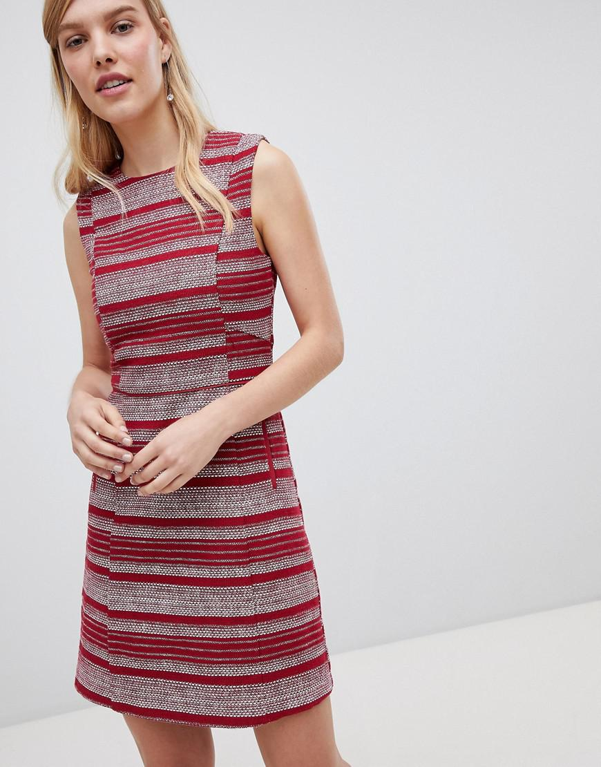 5e3083999d Lyst - Oasis Striped Ruffle Hem Shift Dress in Red