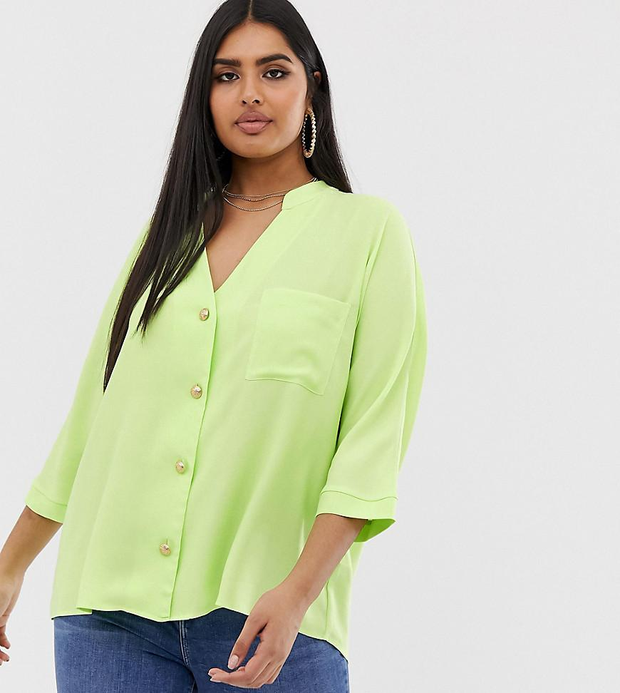 d33903f4fbe80f River Island Shirt With Pocket In Neon Lime in Green - Lyst
