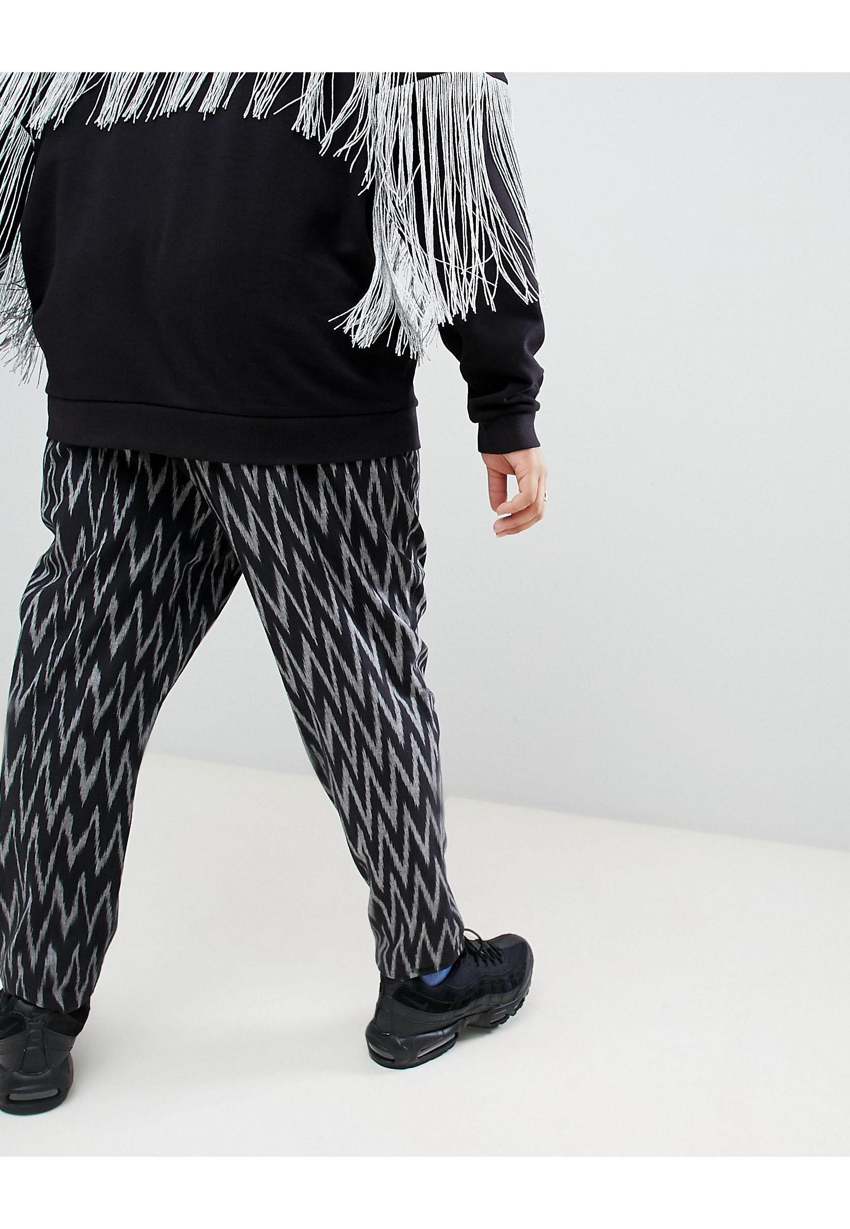 ASOS Plus Festival Tapered Trousers in Black for Men