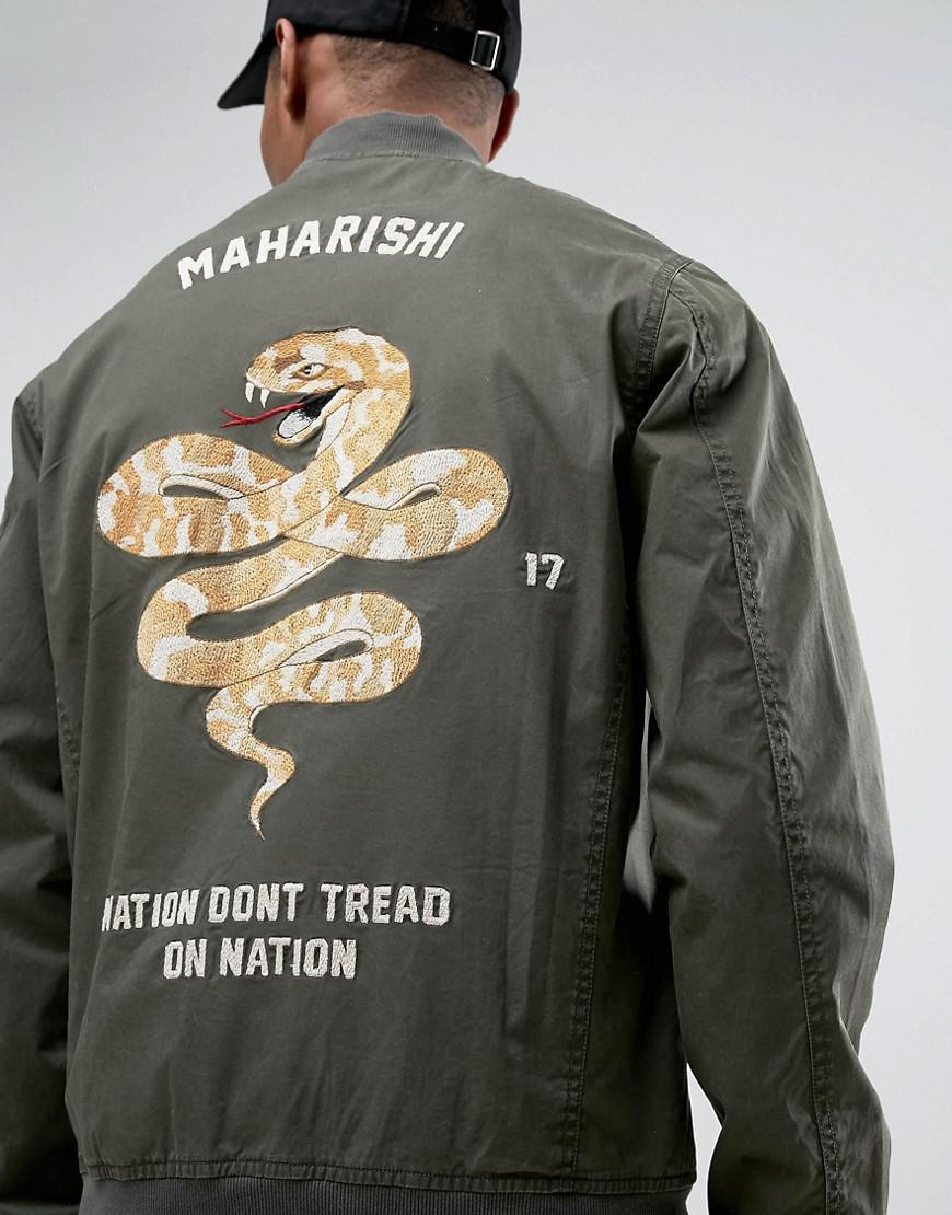 672d9d02c Maharishi Green Bomber Jacket In Khaki With Snake Embroidery for men