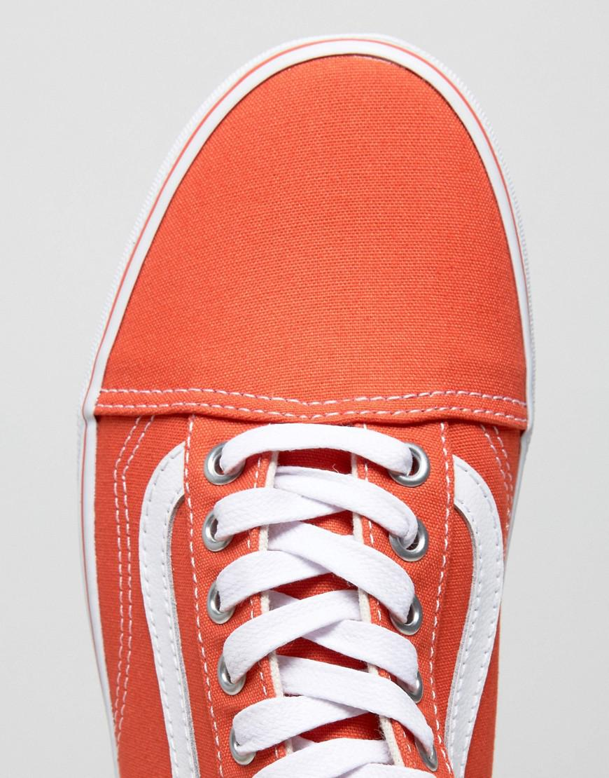Vans Leather Old Skool Trainers In Orange Va38g1moo for Men
