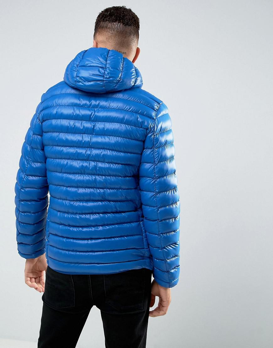 Tokyo Laundry Synthetic Hooded Padded Jacket In Sheen in Blue for Men
