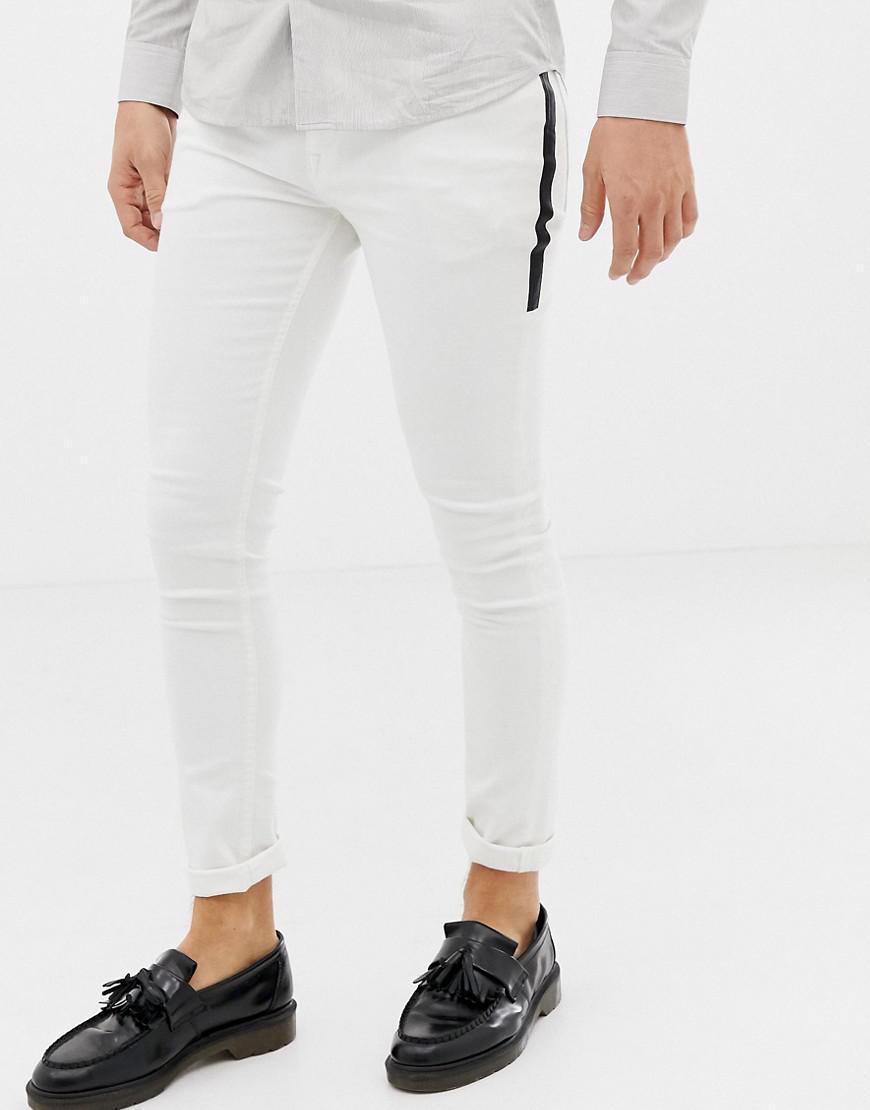 1fe5abebdf66 ASOS Super Skinny Jeans In White With Black Side Stripe in White for ...