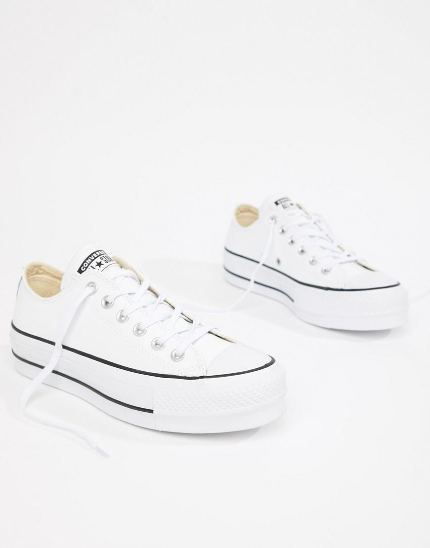 be36be3f21f Converse. Women s Chuck Taylor All Star Leather Platform Low Sneakers In  White