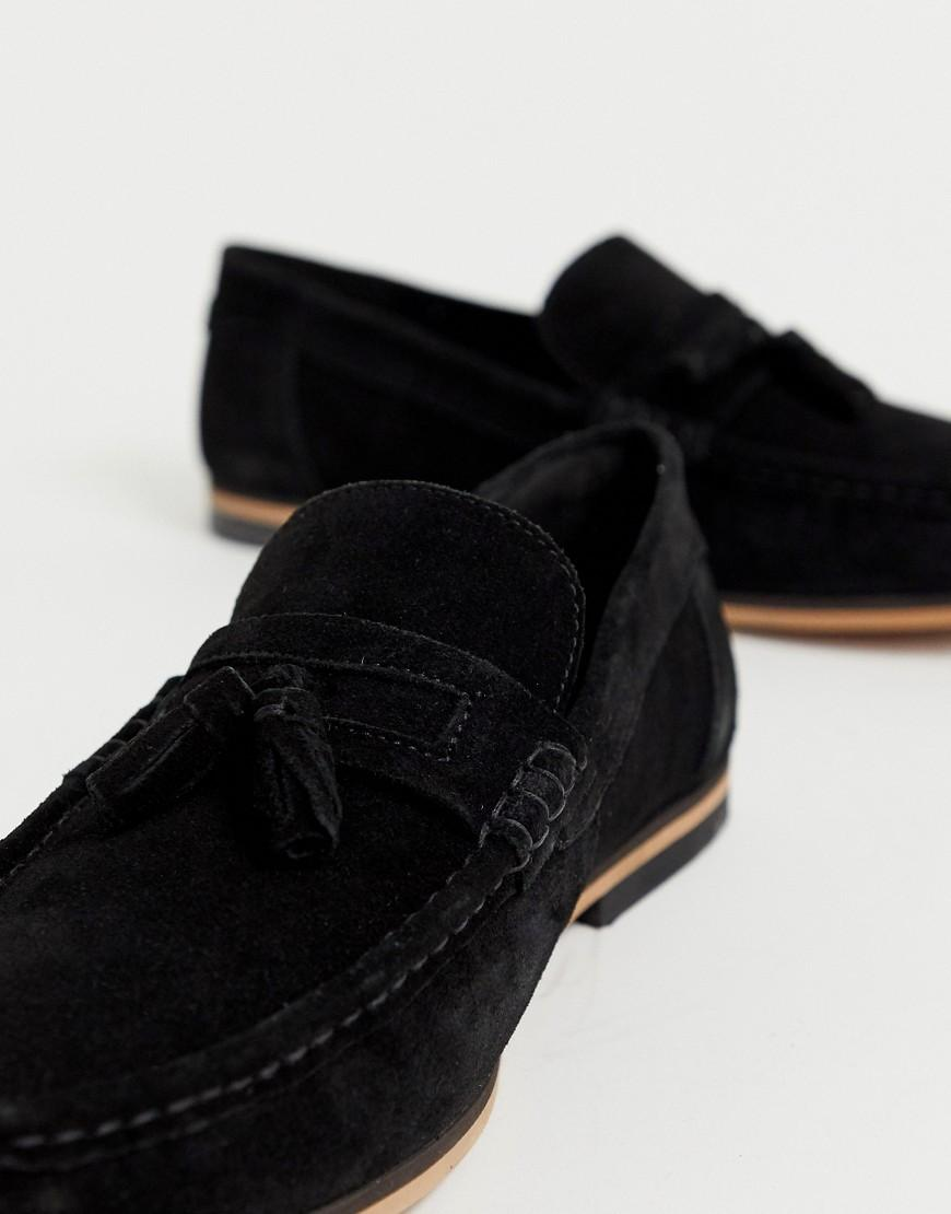 8dc982a9d1f ASOS Wide Fit Tassel Loafers In Black Suede With Natural Sole in Black for  Men - Lyst