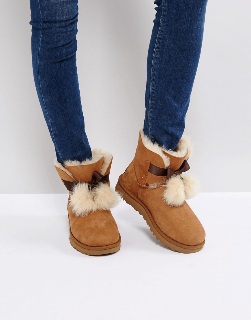 26851e070d9 Ugg Brown Gita Bow Chestnut Boots