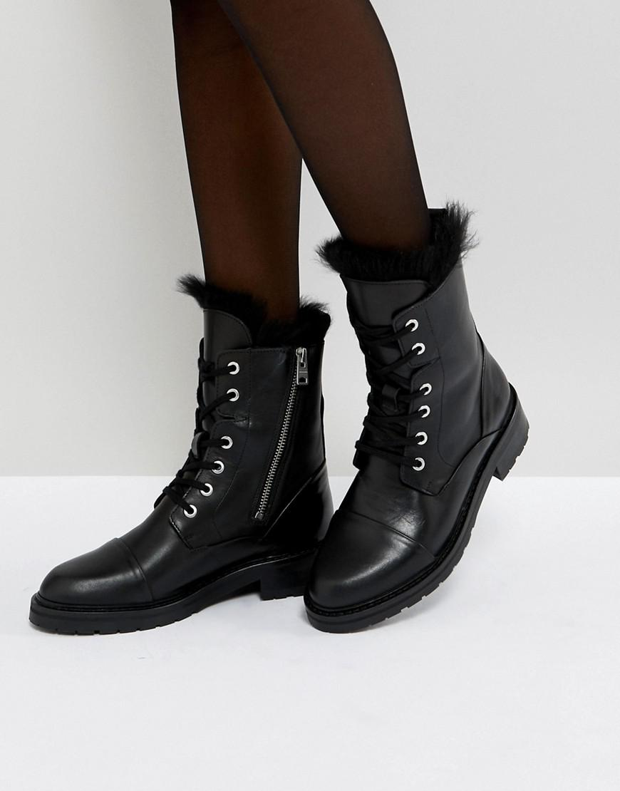 0d739c7acb5568 Lyst - AllSaints Lace Up Shearling Boots in Black