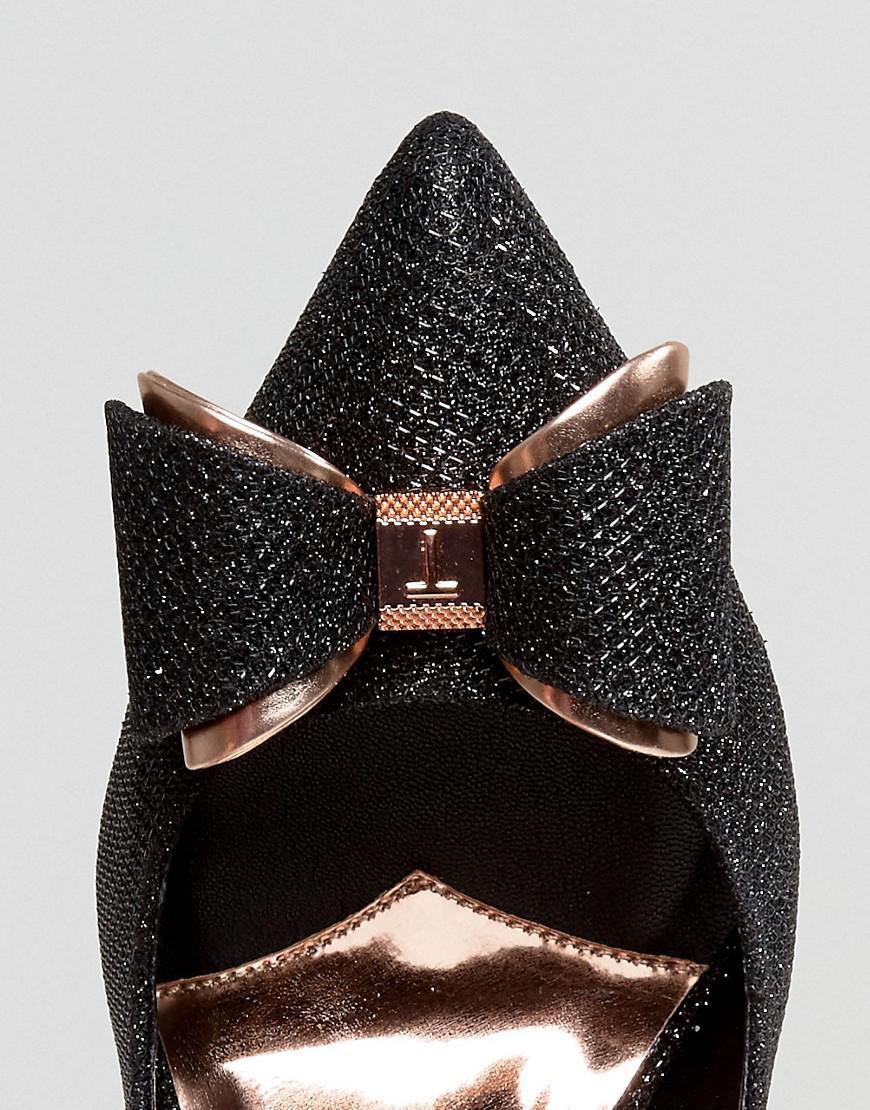 50d0c1da36c Lyst - Ted Baker Azeline Black Sparkling Heeled Court Shoes in Black