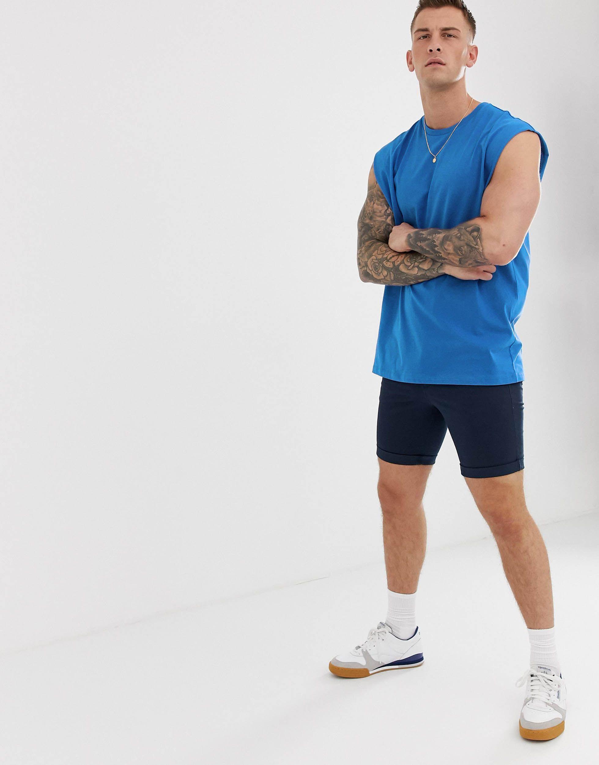 ASOS Katoen Oversized Lang Hemdje in het Blauw voor heren