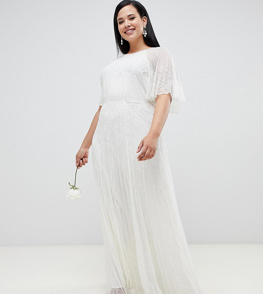 a3fdc8114bd91b ASOS Asos Edition Curve Deco Embellished Wedding Dress in White - Lyst