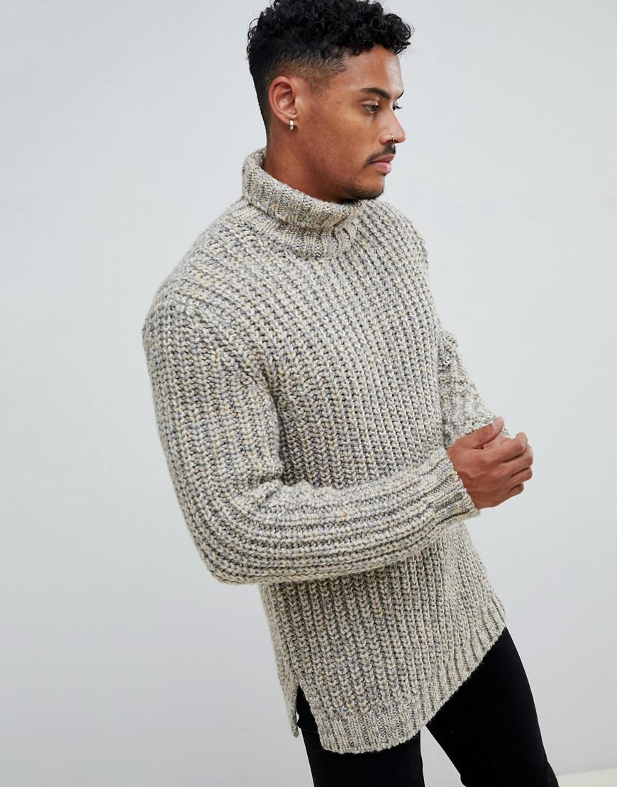 38227b2587a ASOS Natural Heavyweight Fisherman Rib Roll Neck Sweater In Oatmeal for men