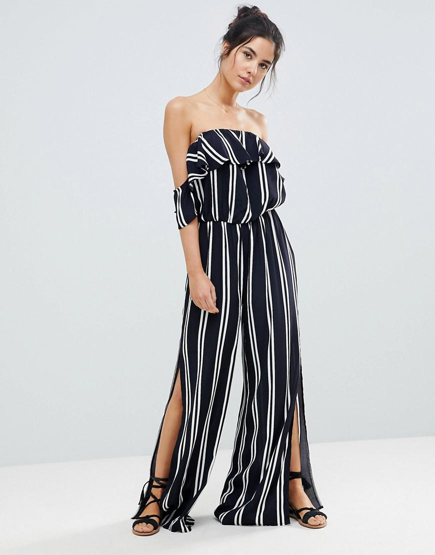 aed671606c59 Lyst - Surf Gypsy Stripe Off The Shoulder Beach Jumpsuit in Blue