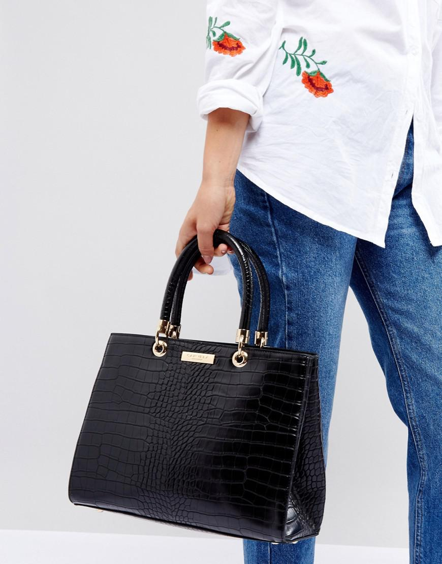 ace08b01d68d Carvela Kurt Geiger Darla Mock Croc Structured Tote Bag in Black - Lyst