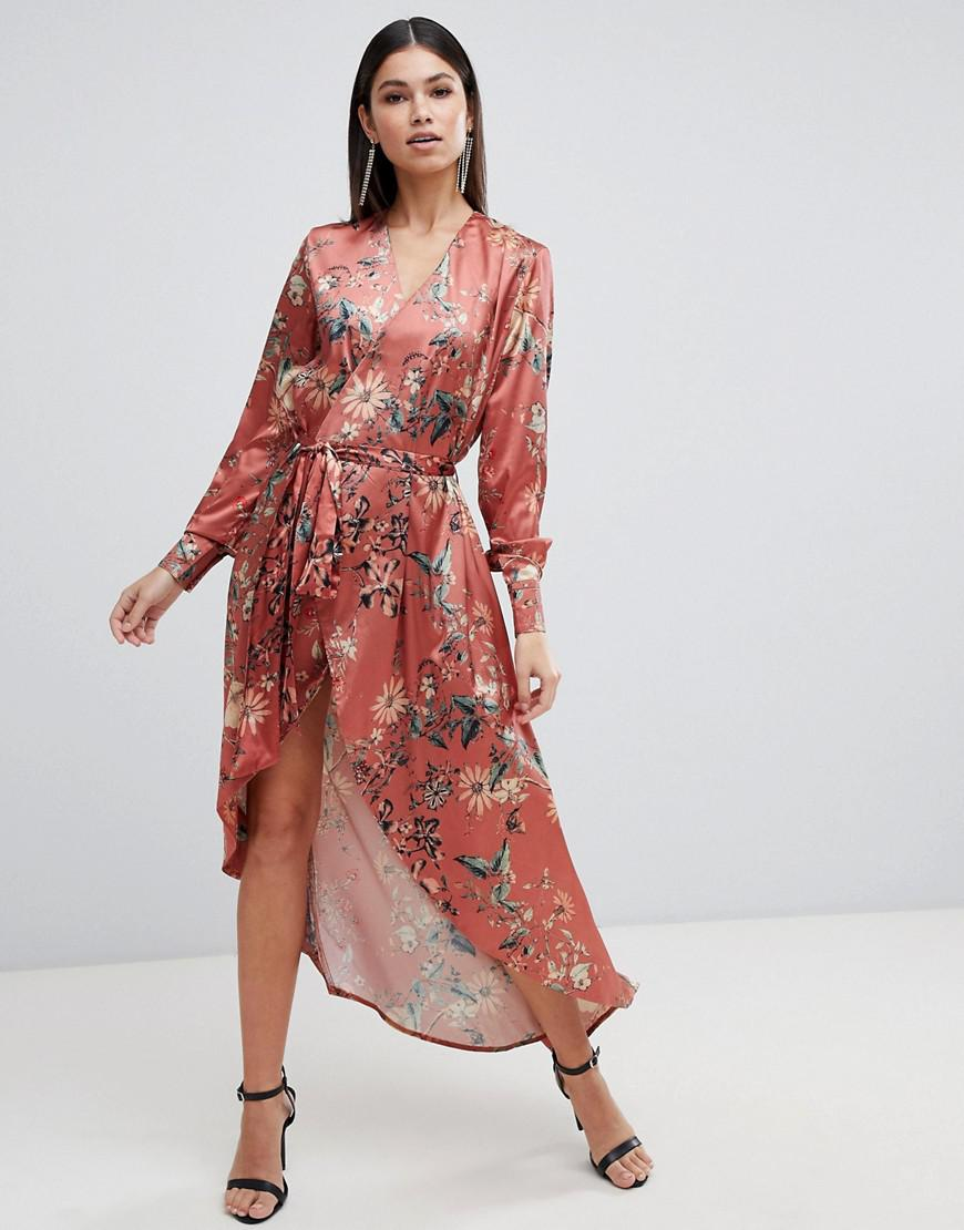 784f722f9ec34 Orange Floral Long Sleeve Maxi Dress - PostParc