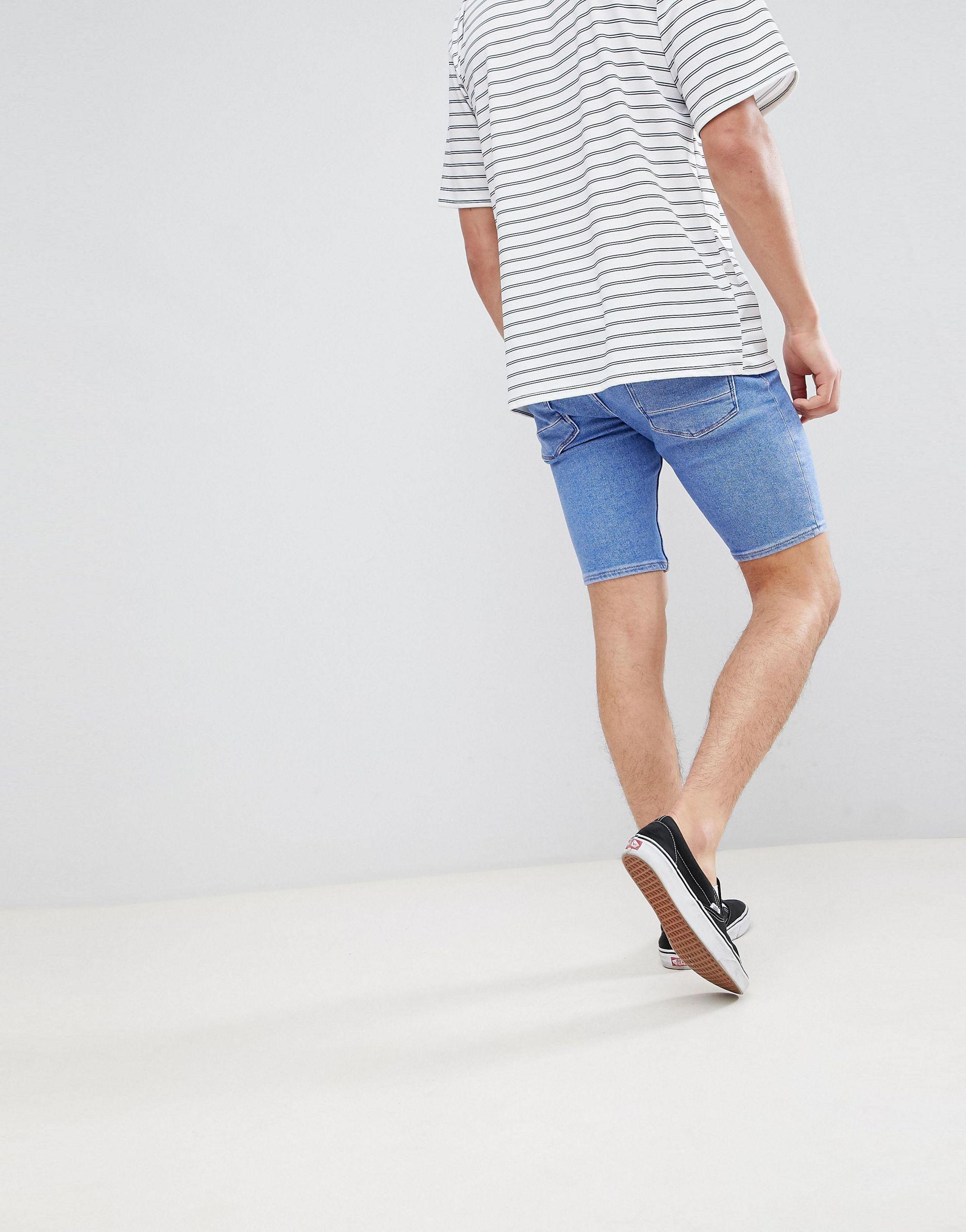 River Island Skinny Denim Short in het Blauw voor heren