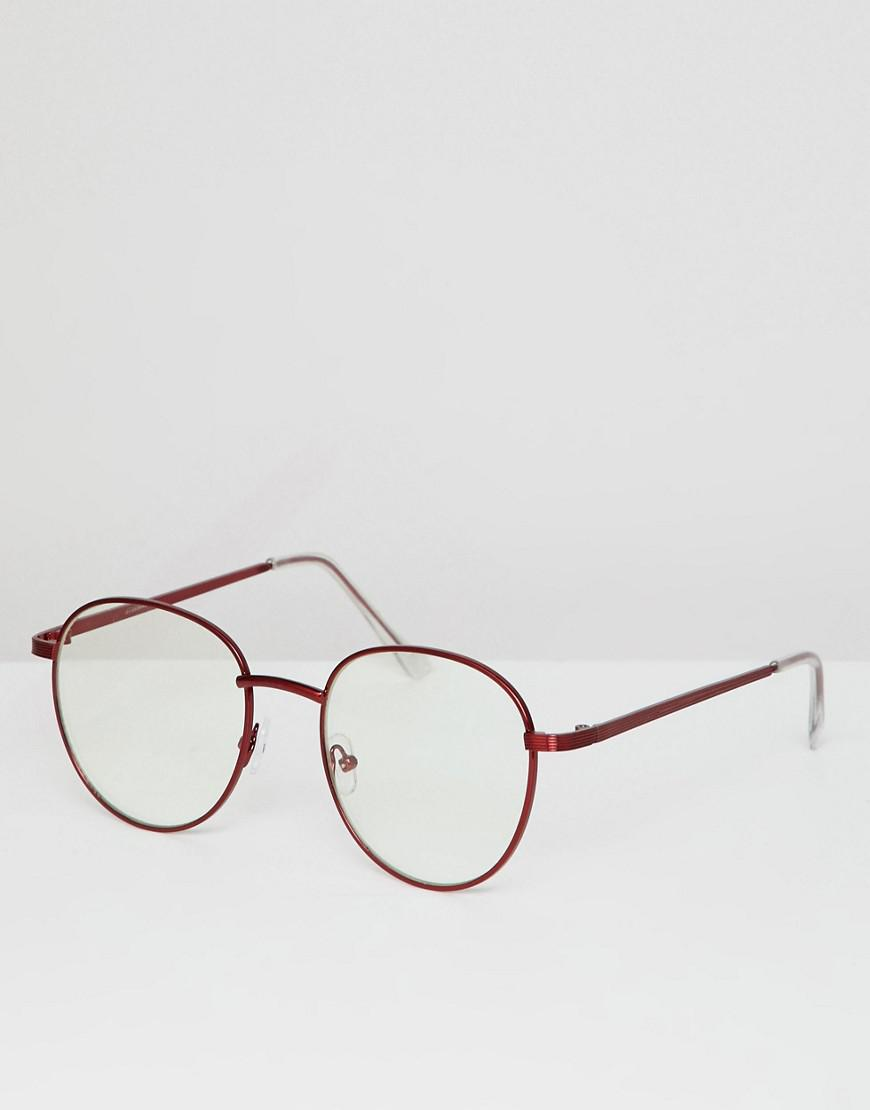 0265991093 ASOS Round Glasses In Red Metal With Clear Lens in Red for Men - Lyst