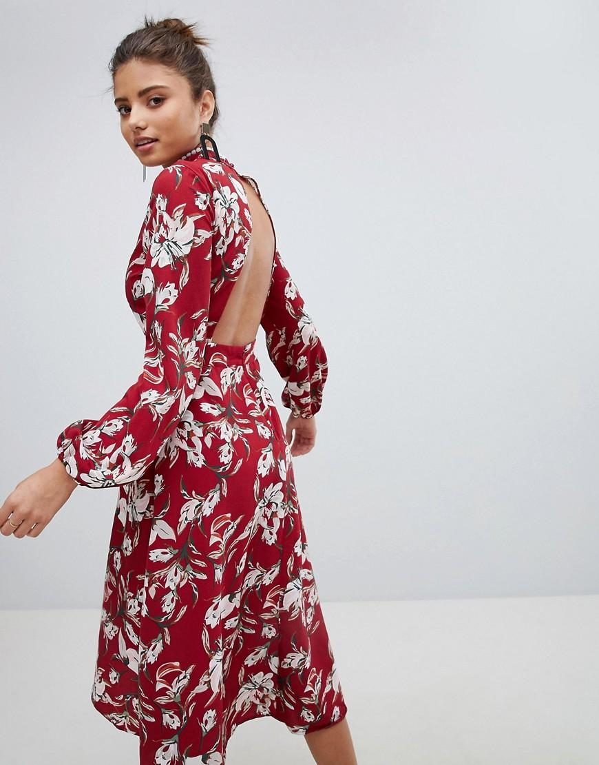 67cd3971dc80 Boohoo Exclusive Lace Trim Open Back Midi Dress in Red - Lyst