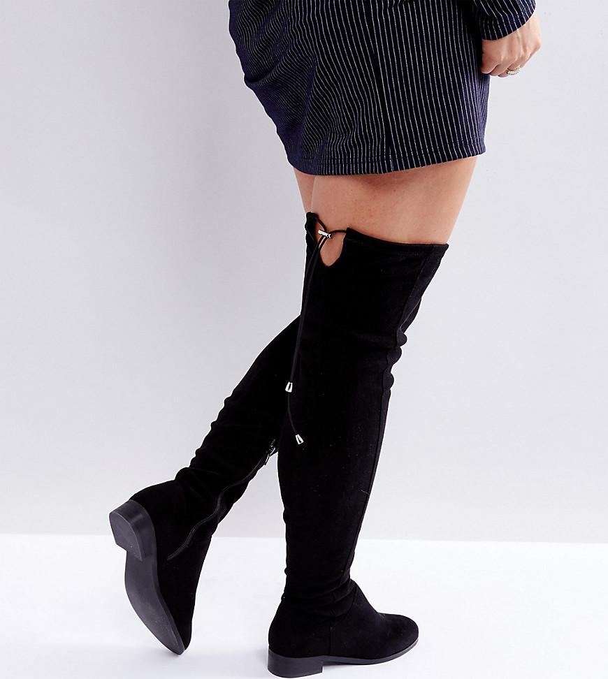 c96ef265f17 Lyst - ASOS Keep Up Wide Fit Tall Over The Knee Boots in Black ...