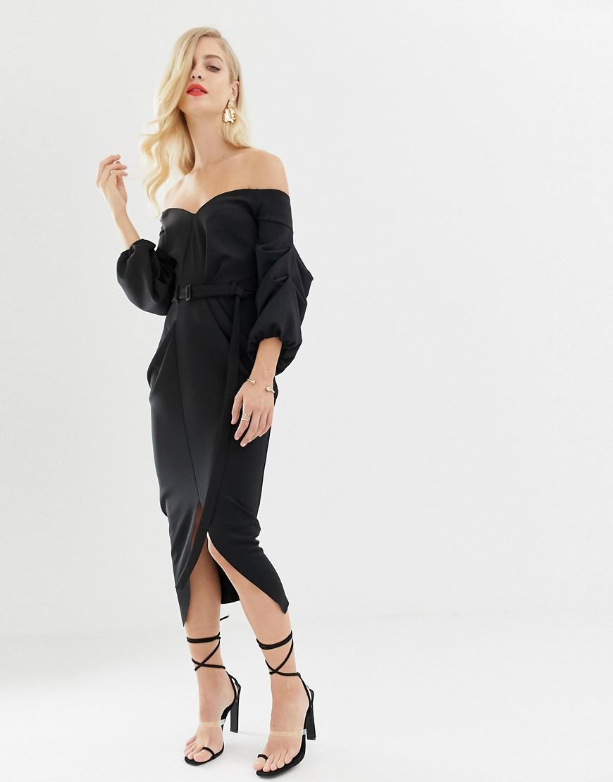 96e0901b317 ASOS - Black Bardot Double Belted Balloon Sleeve Midi Dress - Lyst. View  fullscreen