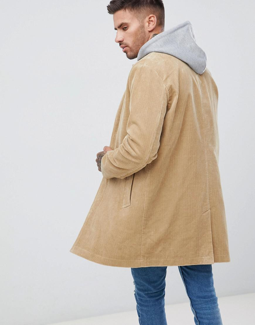 1c05a66b85d ASOS Single Breasted Cord Trench Coat In Stone in Natural for Men - Lyst
