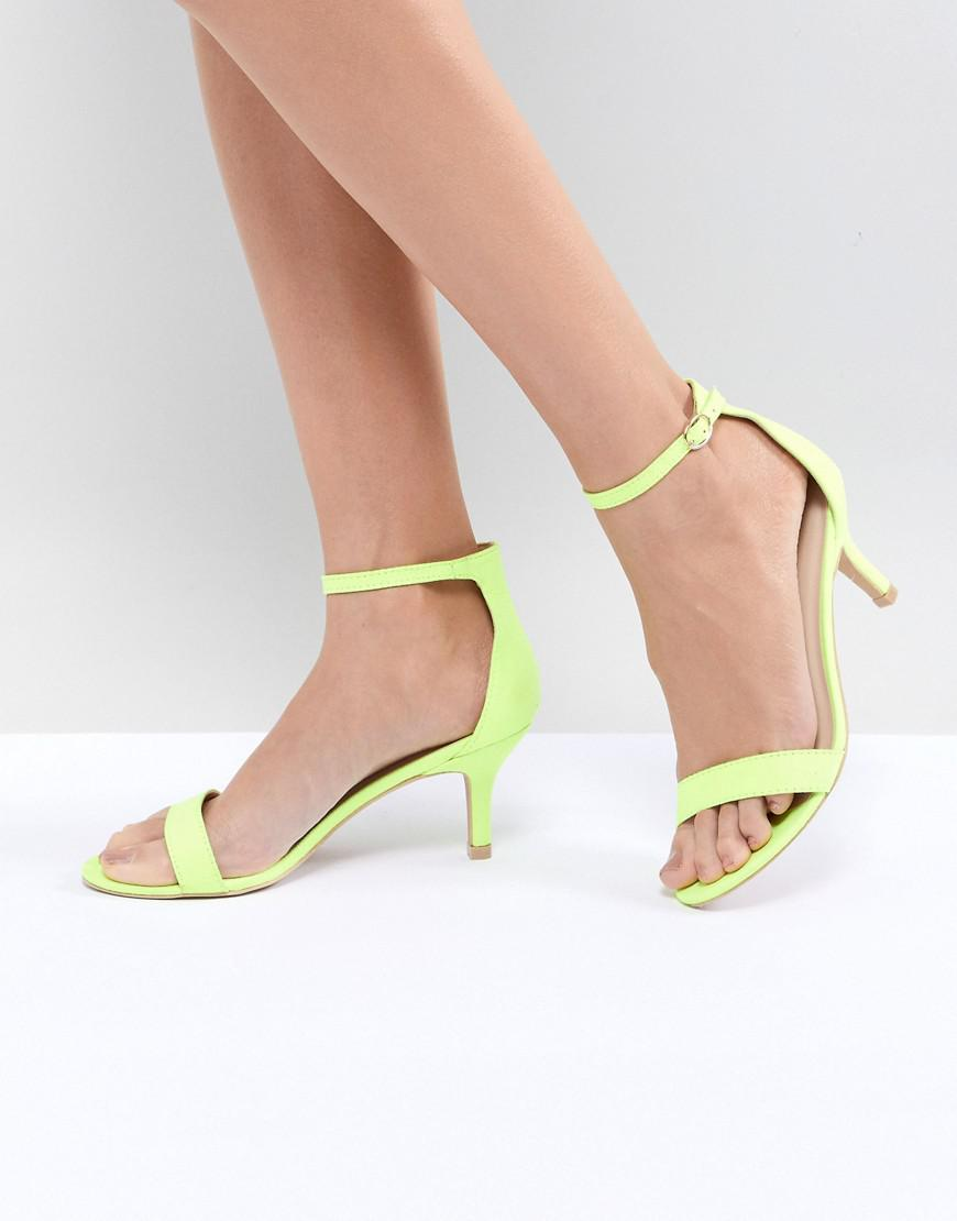 171e4a7942a Glamorous Neon Yellow Barely There Kitten Heeled Sandals in Yellow ...