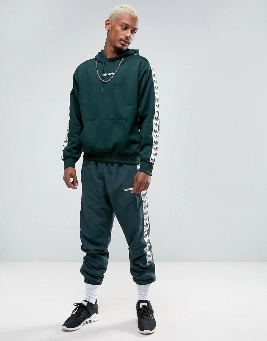 adidas Originals Synthetic Adicolor Tnt Tape Hoodie In Green