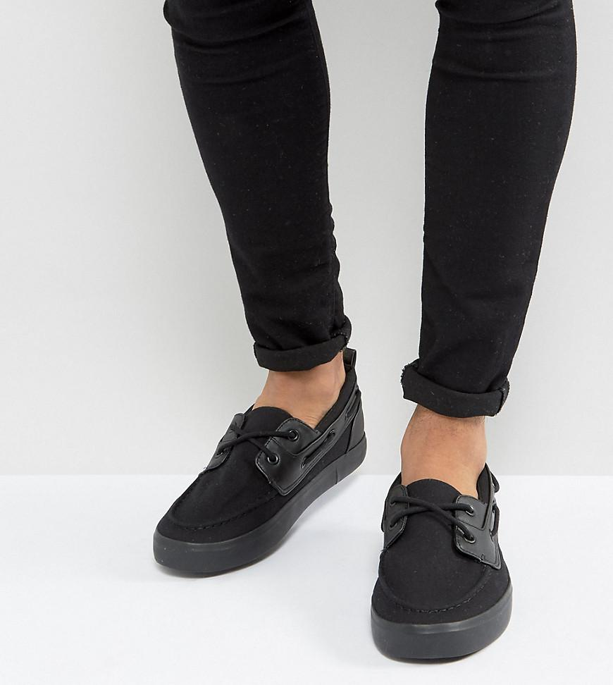 Wide Fit Boat Shoes In Black Canvas - Black Asos Quality Free Shipping ncjyLGHcp