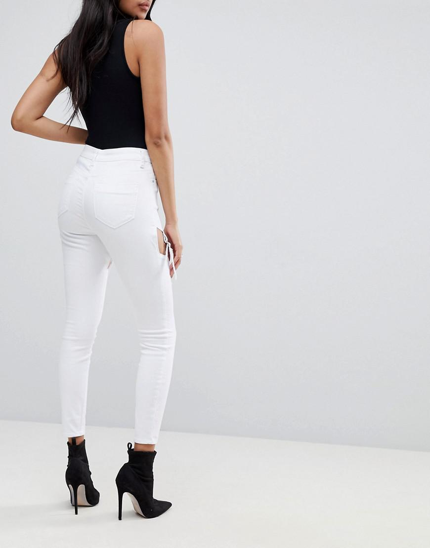 ASOS Denim Ridley Festival High Waist Skinny Jeans With Suspender Detail in White