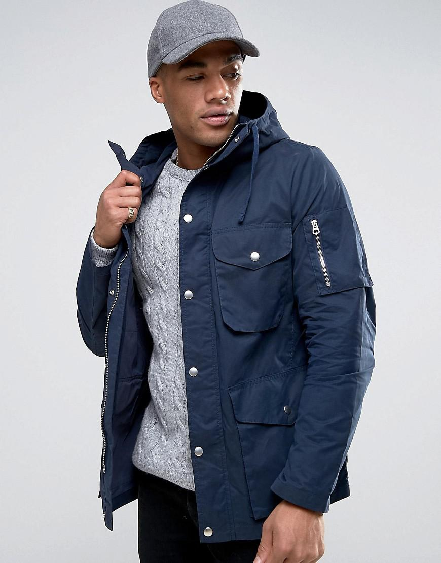 Asos 4 Pocket Parka Jacket In Navy in Blue for Men | Lyst