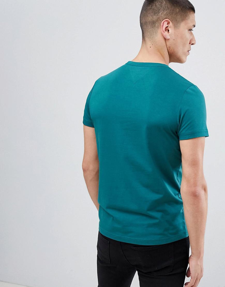 a7ae81a6 Tommy Hilfiger Stretch Slim Fit T-shirt Flag Logo In Dark Green in ...