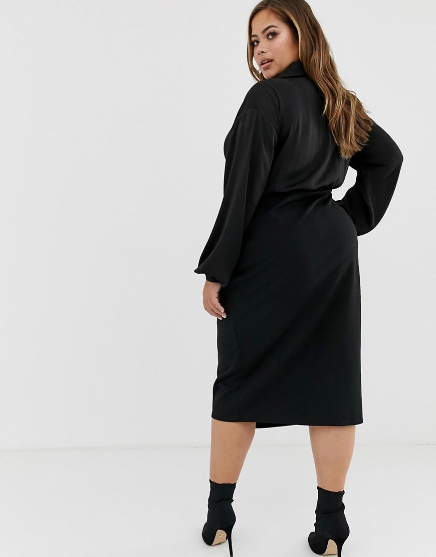 e4ef1029a92ca Lyst - ASOS Asos Design Curve Satin Mix Wrap Midi Shirt Dress in Black