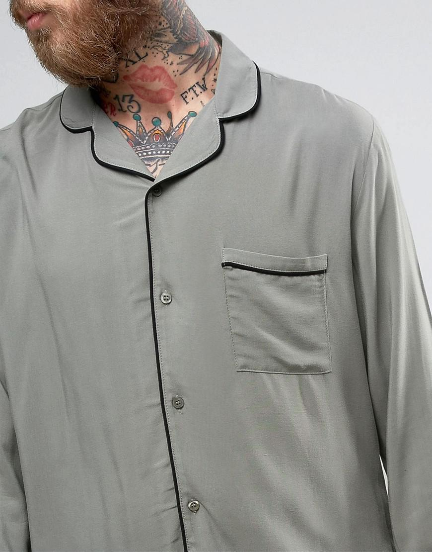 Brooklyn Supply Co. Synthetic Revere Collar Shirt With Piping in Green for Men