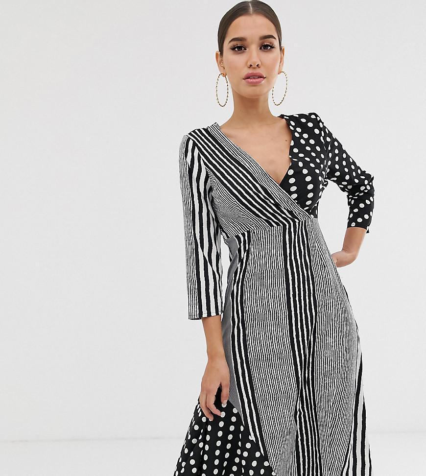 3563da1877f9 Boohoo Mixed Polka Dot And Stripe Midi Dress In Mono in Black - Lyst