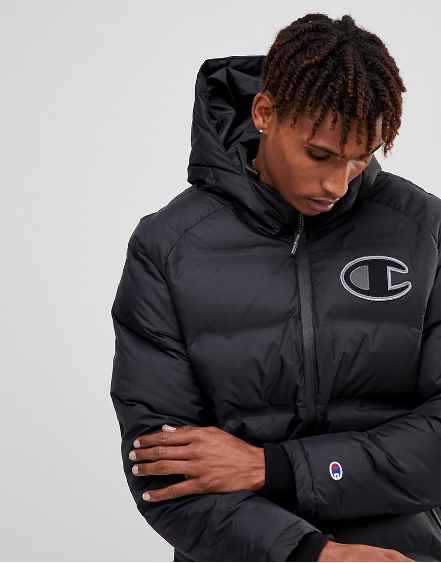 1c7a0aefea0d Champion Long Puffer Jacket With Logo in Black for Men - Lyst